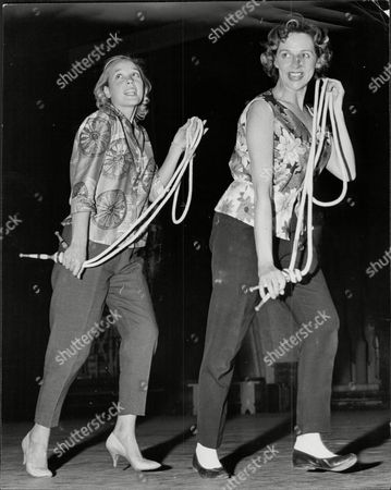Rehearsing For 'night Of 100 Stars' At The Palladium Sylvia Syms (left) With Thelma Ruby.