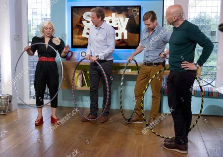 Stock Image of Anna Drury (hula hoop expert), Tim Lovejoy, Ricky Wilson [Kaiser Chiefs] and Simon Rimmer