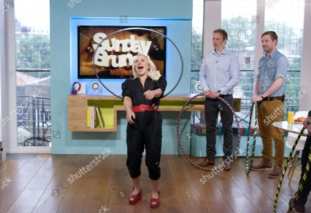 Stock Picture of Anna Drury (hula hoop expert), Tim Lovejoy and Ricky Wilson [Kaiser Chiefs]