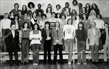 Editorial photo of 'jesus Christ Superstar' Cast Composers Director And Impresario; With Robert Stigwood At The Front In Between Andrew Lloyd-webber Left Tim Rice Right.back Two Rows: Chorus; .second Row Left To Right: Keith Percival (company Manager) Jimmy Cassidy (