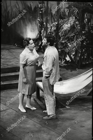 Editorial picture of Mark Eden And Ruth Kettlewell In The Night Of The Iguana: Attending The Opening Night Of 'the Night Of The Guana: At The Savoy Last Night Was It's Author Tennesse Williams. Starring In This Satge Production Is Sian Phillips Wife Of The Actor Peter