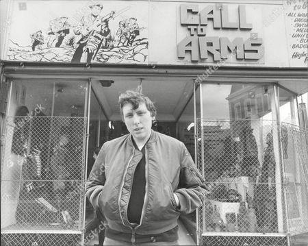 Chris Farlowe outside his militaria shop 'Call to Arms'