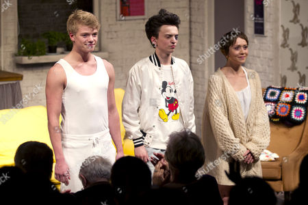 Tom Rhys Harries (Alan), Perry Millward (David) and Laura Pyper (Laurel) during the curtain call