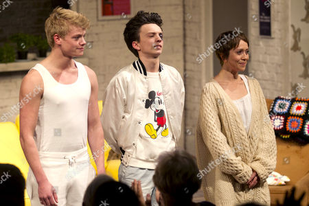 Stock Photo of Tom Rhys Harries (Alan), Perry Millward (David) and Laura Pyper (Laurel) during the curtain call