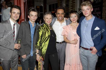 Stock Image of Joe McFadden (Ed), Perry Millward (David), Sara Kestelman (Mrs Beckoff), David Bedella (Arnold), Laura Pyper (Laurel) and Tom Rhys Harries (Alan) attend the after party