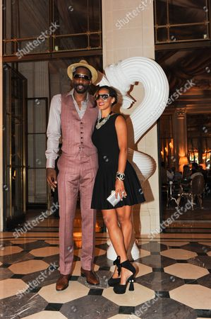 Amar'e Stoudemire of the New York Knicks and his girlfriend Alexis Welch
