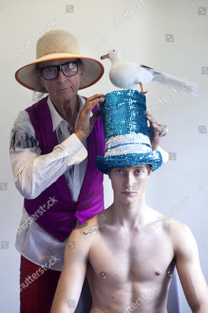 David Shilling with model wearing one of his hat designs