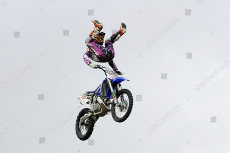 Stock Image of Jon Ritchie jumping his bike at the Big Air Jam