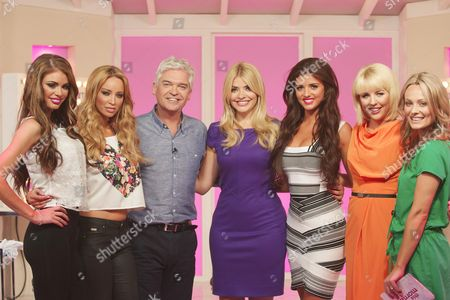 Chloe Sims, Lauren Pope, Presenters Phillip Schofield and Holly Willoughby, Lucy Mecklenburgh, Lydia Bright and Sarah Jagger