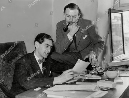Dennis Norden And Frank Muir Bbc Scriptwriters At Work On The 'take It From Here' Radio Show.