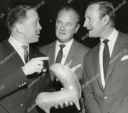 L-r: Richard Attenborough Nigel Patrick And Leslie Phillips With Item Donated For Christie's Charity Sale.