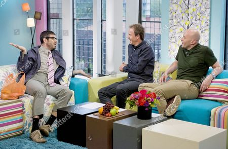 Dan Renton Skinner as Angelos Epithemiou with Tim Lovejoy and Simon Rimmer.