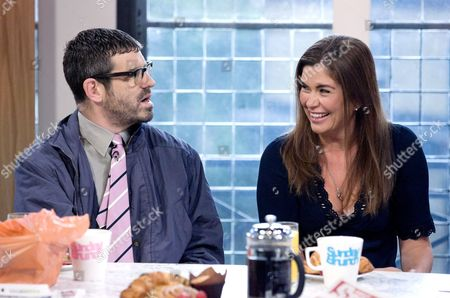 Dan Renton Skinner as Angelos Epithemiou and Amanda Lamb.