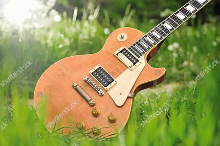 A Gibson Marc Bolan Custom Les Paul Electric Guitar. During A Shoot For Guitarist Magazine April 27