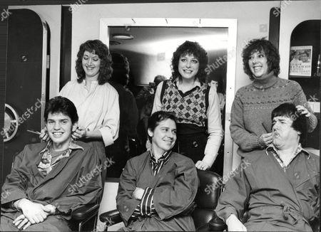 Stock Image of Front Left To Right Tim Whitehall Shakin Stevens Singer And Pj Proby Singer