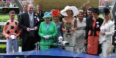Queen Elizabeth II congratulates Luke Nolen and the owners of Black Caviar who won The Diamond Jubilee Stakes