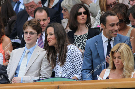 Pippa Middleton talks with the son of Felcitiy Kendal, Jake Rudman next to her brother James Middleton
