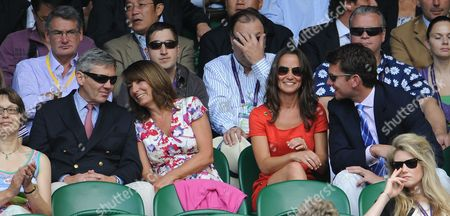 Pippa Middleton Flanked By Her Parents Michael And Carole And Alex Louden. Jo-wilfried Tsonga V Roger Federer Wimbledon The Lawn Tennis Championships 2011