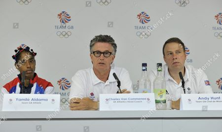 Yamile Aldama, Team GB Athletics Head Coach Charles van Commenee and Team GB Chef du Mission Andy Hunt