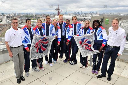 Stock Photo of Team GB Athletics Head Coach Charles van Commenee, Adam Gemili, Andrew Osagie, Goldie Sayers, Greg Rutherford, Rhys Williams, Yamile Aldama, Lisa Dobriskey, Aniyika Onuora, Sophie Hitcho and Team GB Chef de Mission Andy Hunt