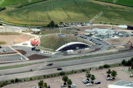 The new Aire De La Chaponne services on the A6 Autoroute, Avallon, France designed by Ora Ito
