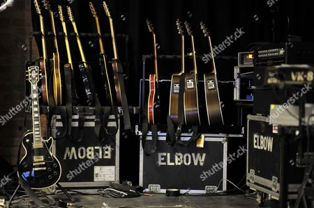 Guitar Rig Of Guitarist Mark Potter Of English Indie Rock Band Elbow At The Blueprint Studios On February 3, 2011