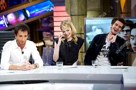 Pablo Motos, Emma Stone and Andrew Garfield