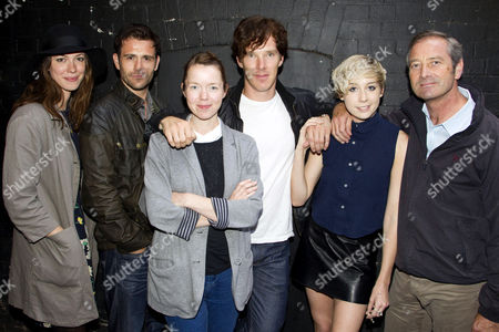 Rebecca Hall (Alison), Matt Ryan (Cliff), Anna Maxwell Martin (Helena), Benedict Cumberbatch (Jimmy Porter), Polly Stenham (Director) and Julian Wadham (Colonel Redfern) backstage following the rehearsed reading of 'Look Back in Anger'