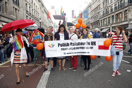 Anna Grodzka, Polish transsexual MP, marching with the Polish Rainbow group