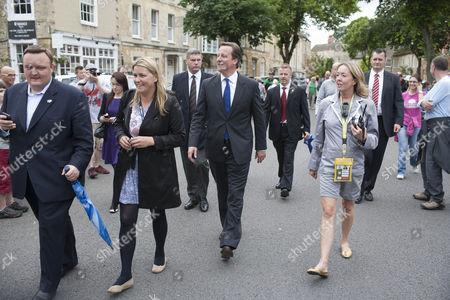 Prime Minister David Cameron with press officer Liz Sugg (black coat)