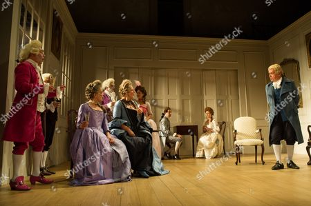 David Killick (Crabtree), Timothy Speyer (Servant), Serena Evans (Lady Sneerwell), Grant Gillespie (Sir Benjamin Backbite), Maggie Steed (Mrs Candour), Susannah Fielding (Lady Teazle), Edward Bennett (Joseph Surface), Zoe Rainey (Maria) and James Laurenson (Sir Peter Teazle)