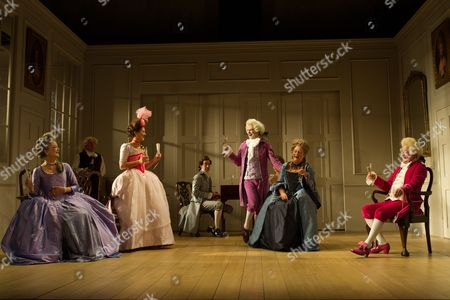 Susannah Fielding (Lady Teazle), Serena Evans (Lady Sneerwell), Timothy Speyer (Servant), Susannah Fielding (Lady Teazle),Edward Bennett (Joseph Surface), Grant Gillespie (Sir Benjamin Backbite), Maggie Steed (Mrs Candour) and David Killick (Crabtree)