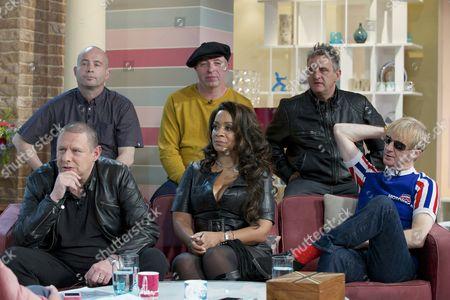 The Happy Mondays – back - Paul Davis, Mark Day, Paul Ryder. front - Shaun Ryder, Rowetta Satchell and Gary Whelan