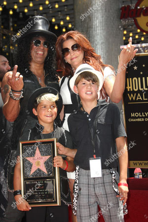 Slash, wife Perla Ferrar and sons Cash and London