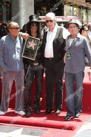 Stock Photo of Robert Evans, Slash, Jim Ladd and Charlie Sheen