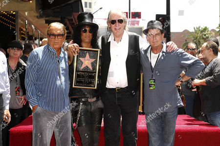 Stock Image of Slash, Robert Evans, Jim Ladd and Charlie Sheen
