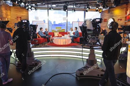 Craig Kelly and Lisa Maxwell with Kate Garraway and John Stapleton, studio, set, camera.