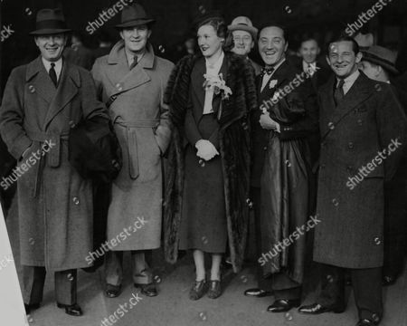 Stock Image of Boat Train Arrivals At Waterloo Railway Station The Four Yacht Club Cabaret Boys Charles Adler George Kelly Billy Mann And Mr And Mrs Jimmy Kern