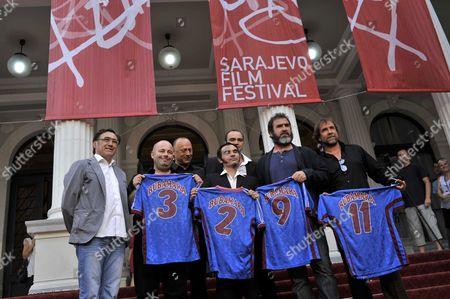 Eric Cantona and Jean Marie Cantona with the production team of documentary 'Football Rebels' Sarajevo, BOSNIA AND HERZEGOVINA-11/07/2012/Credit:STJEPANOVIC DANKO/SIPA/1207121619