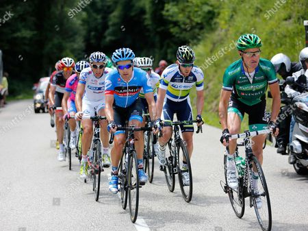 Stock Picture of Thomas Voeckler (1st) leads from David Zabriskie