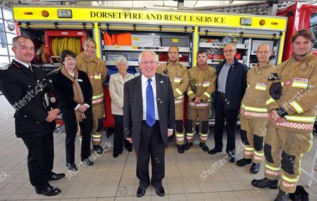 Editorial photo of Bob Neill MP at Weymouth Fire Station, Dorset, Britain - 12 Jul 2012