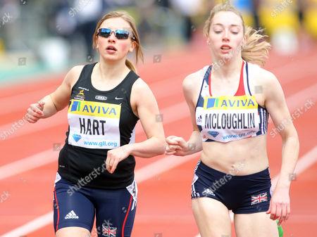 Katrina Hart (L) (GB) finishes 2nd in the T37 200m Women's race ahead of 3rd placed Jenny Mcloughlin (L) (GB) - Aviva Diamond League Athletics Grand Prix