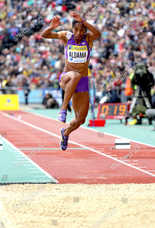 Yamile Aldama (GBR) competes in the Women's triple jump