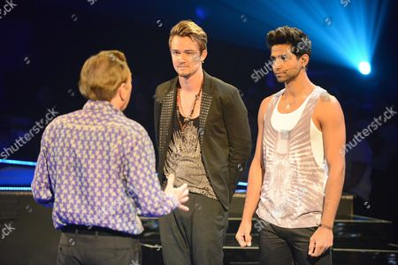 Sir Andrew Lloyd Webber gives final words of advice to Dirk Johnston and Afnan Iftikhar who face a sing off to avoid being the first contestant to be eliminated