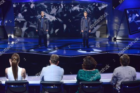 Tim Prottey-Jones and Dirk Johnston during the sing-off, in front of judges Melanie Chisholm, Jason Donovan, Dawn French and Sir Andrew Lloyd Webber