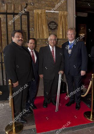 The Lord Mayor of London, Alderman David Wootton, with Subir Patel of SGP Contracts, Ramesh Arora, (MD of Montcalm), Shiraz Lalji, Chairman of Montcalm and Shaftesbury Hotel