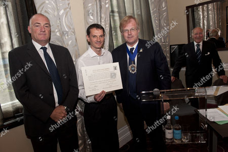 The Lord Mayor of London, Alderman David Wootton with architect Andrea Cesati and Finbarr Macklin of SGP