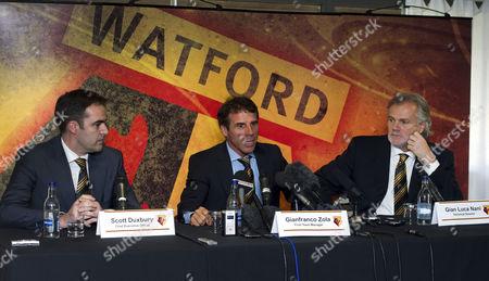 Stock Photo of Watford FC CEO Scott Duxbury, Gianfranco Zola and Technical Director Gianluca Nani