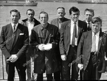 Front Row Jim Worthington Roger Woods John Mchale And Ken Prics Back Row Eric Murdoch George Mallon And Joe Kenny Who Are Members Of The National Union Of Seaman Executive Council