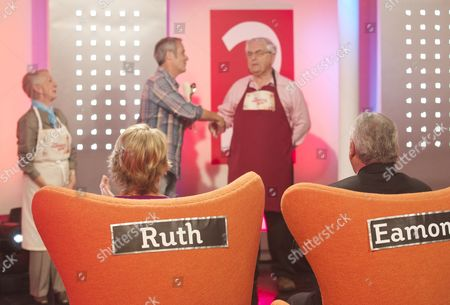 Stock Image of Thelma Barlow, Phil Vickery and Peter Baldwin with Presenters Ruth Langsford and Eamonn Holmes (sitting)